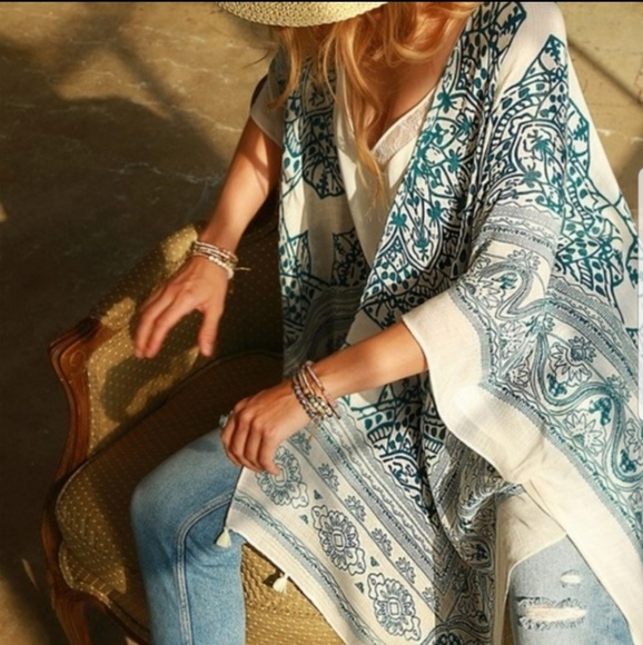 5⭐ 🔰Price Firm Chic Boho Mandalay Lotus Kimono Boutique